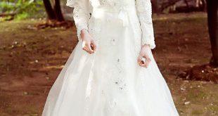 صورة فستان زفاف اسلامي , كوني ملكة بحجابك يوم زفافك