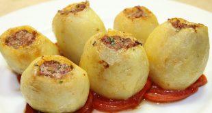 صورة طريقة عمل البطاطس المحشية لحمة مفرومة , وصفة البطاطس بالمفروم