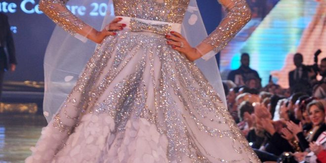 صورة فساتين زفاف للمحجبات هاني البحيري , اطلالة راقية للموديلات الراقية