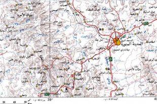 صورة خريطة توضح احياء المدينة المنورة , ثانى اقدس مكان بالارض