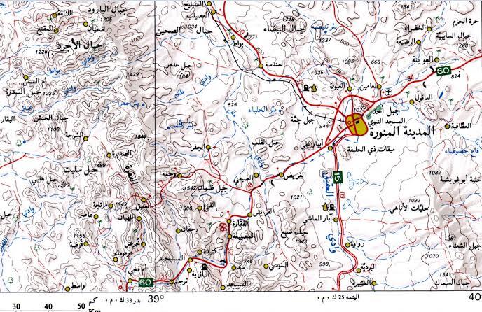 خريطة توضح احياء المدينة المنورة ثانى اقدس مكان بالارض الغدر