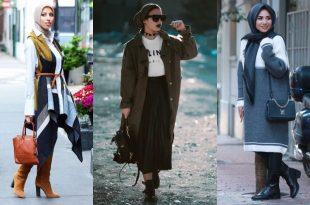 صورة لبس شتوي للمحجبات , الحجاب لشتاء حيوى عصرى و انيق