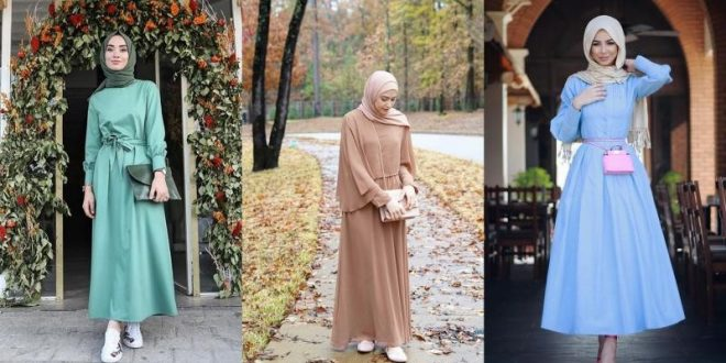 صورة فساتين محجبات خروج تركى , اطلالات الفساتين التركية الجذابة